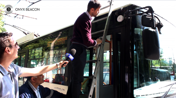 First Enterprise Beacon deployed on a bus in Bucharest by Marius Mornea, CTO Onyx Beacon