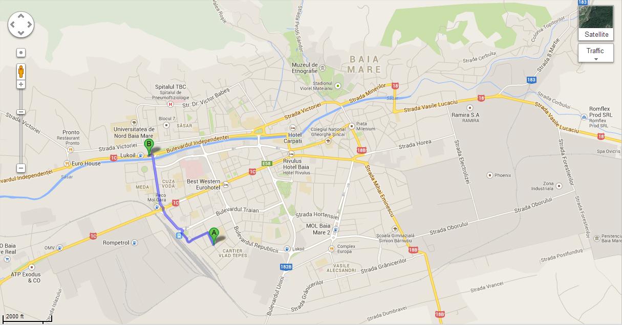 Harta Baia Mare Traseu