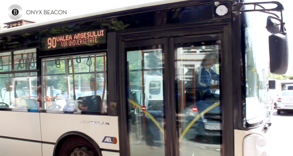 Enterprise Beacon, mounted on a trolleybus on the line 90 in Bucharest