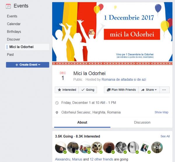 """Evenimentul """"Mici la Odorhei"""", încă activ pe Facebook la data de 22 octombrie 2017"""