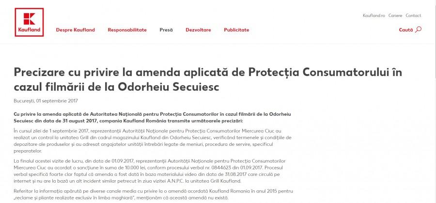 Comunicatul Kaufland referitor la amenda OPC