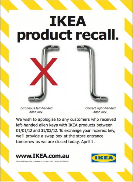 IKEA, 1 aprilie